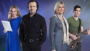 All the Small Things (TV series) - Promotional photo: (l-r) Sarah Alexander, Neil Pearson, Sarah Lancashire, Richard Fleeshman.