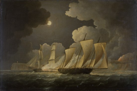British brig attacking a French lugger