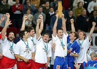 Croatia national handball team - Balić, Sulić, Špoljarić, Kaleb, Goluža, Džomba and Šprem celebrating winning the 2003 World Championship