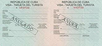 Visa policy of Cuba - Cuban visa (tourist card) sample