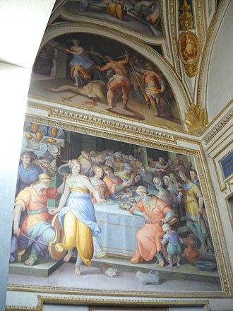 Giovanni Battista Naldini - Image: Dance of Salome Beheading of John the Baptist Giovanni Battista Naldini 1580 Chiesa della Trinità dei Monti Rome