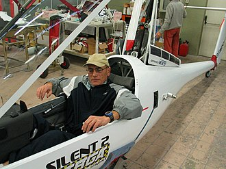 Alisport Silent 2 Targa - A Silent 2 Targa fuselage with a pilot trying out the cockpit