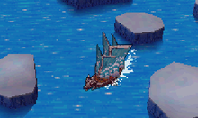 An in-game screenshot of a ship navigating the ocean.