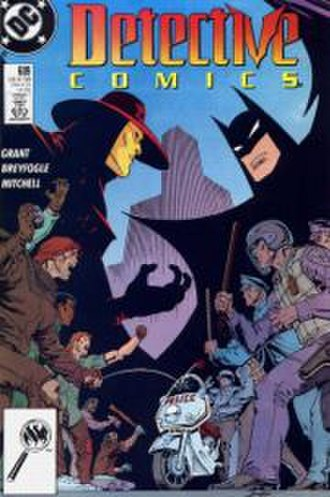 Anarky - The cover of Detective Comics No. 609 contrasts Anarky as a champion of the oppressed, and Batman as a champion of the law. Art by Norm Breyfogle.