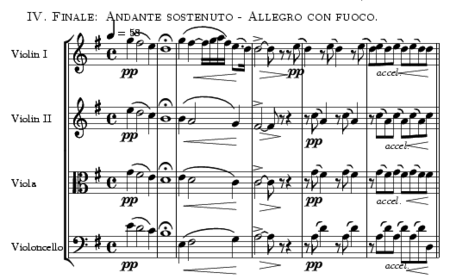 Andante sostenuto opening to the quartet's finale