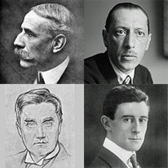 Arthur Bliss - Diverse influences on the young Bliss: Elgar and Stravinsky (top); Vaughan Williams (lower left) and Ravel