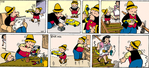 """Ferd'nand - """"No good deed goes unpunished"""" is the subtitle of this Ferd'nand Sunday strip (March 5, 2000). Henrik Rehr, who took over the strip in 1989, uses the signature """"Rehr.Mik""""."""