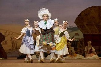 La fille mal gardée (Ashton) - William Tuckett as the Widow Simone with members of the corps de ballet in the Clog Dance from the Royal Ballet's production of Ashton's La fille mal gardée, London, 2006.