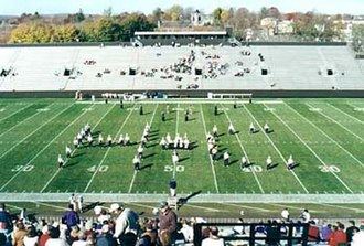 "Holy Cross Crusaders - The Holy Cross ""Goodtime"" Marching Band in the familiar HC formation"