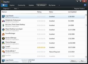 Impulse (software) - Impulse screenshot showing list of installed software