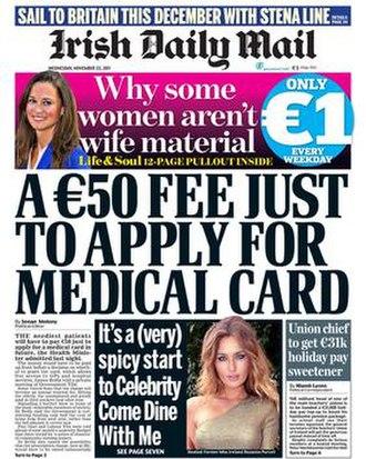 Irish Daily Mail - Image: Irish Daily Mail front page including masthead