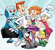 Judy (furthest right) with Rosey, George, Jane, Elroy and Astro