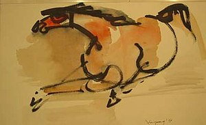 John Chin Young - Untitled watercolor by John Chin Young, 14.5 x 22 in.