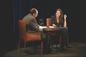 Inside the Actors Studio - James Lipton with guest Angelina Jolie. The majority of the show is held as a one-on-one interview.