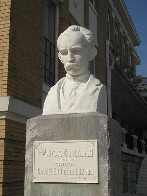 Cuban Americans - Statue of Jose Martí at the Circulo Cubano (Cuban Club), Ybor City
