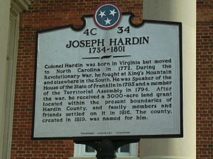 Hardin County, Tennessee - The dedication plaque for the Savannah, TN courthouse which is dedicated to Col. Joseph Hardin.