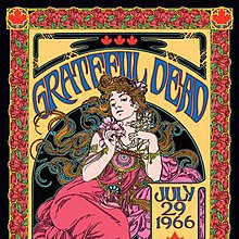A woman with long flowing hair, drawn in the style of an Art Nouveau poster