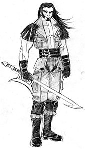 A concept sketch of pre-injury Kabal by John Tobias, originally for Mortal Kombat: Special Forces (2000). This design was carried over into 2005's Mortal ...