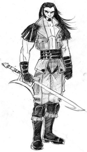 Kabal (Mortal Kombat) - A concept sketch of pre-injury Kabal by John Tobias, originally for Mortal Kombat: Special Forces (2000). This design was carried over into 2005's Mortal Kombat: Shaolin Monks, in which Kabal appeared as a non-player character