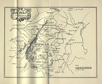 James Tod - Map of Mewar (or Udaipur) state