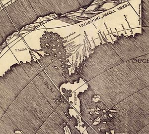 Ajacan - Waldseemüller map showing North America originally published in April 1507.