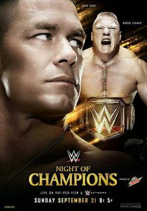 Night of Champions (2014) - Promotional poster featuring John Cena and Brock Lesnar with the WWE World Heavyweight Championship