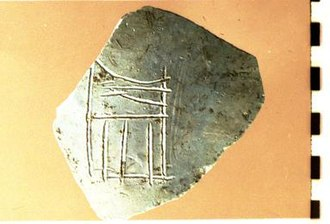 Narmer - Narmer serekh on pottery sherd from Nahal Tillah (Canaan) showing stylized catfish and absence of chisel, Courtesy Thomas E. Levy, Levantine and Cyber-Archaeology Laboratory, UC San Diego