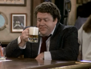 "Norm Peterson - Norm with a beer in ""Cheers: The Motion Picture"" (season 5, episode 24)"