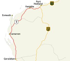 Map Of North West Australia.North West Coastal Highway Wikipedia