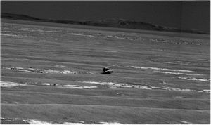 Oileán Ruaidh (Mars rock) - A picture of the rock taken by ''Opportunity'' rover while it was 31 meters away from the rock.
