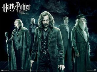 Order of the Phoenix (fictional organisation) - Some Order of the Phoenix members in the Harry Potter and the Order of the Phoenix film adaptation, from left to right: Mad - Eye Moody, Nymphadora Tonks, Sirius Black, Remus Lupin, Albus Dumbledore