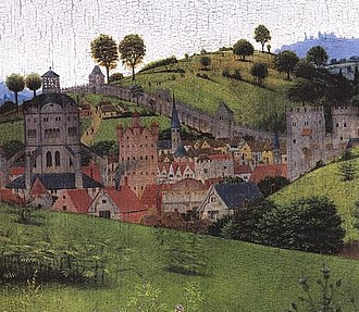 Nativity (Christus) - Background detail (with crackle pattern apparent) showing a 15th-century Netherlandish town with two domed structures representing Jerusalem
