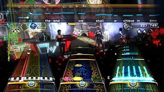 "Rock Band 3 - Rock Band 3 is unique in that it added support for a 25-key keyboard (left track), MIDI compatible real guitars and electronic drum kits in addition to Basic guitar, bass, drums, and vocals from previous rhythm games. Pro mode challenges lead and bass guitarists, keyboardists, and drummers with a realistic playing experience in-game, such as requiring keyboardists to use a full range of keys, drummers (center) to strike proper cymbals as noted by round gems, or guitarists (right) and bassists to use accurate fingering on the fret bar. This screenshot shows Spacehog's ""In the Meantime""."