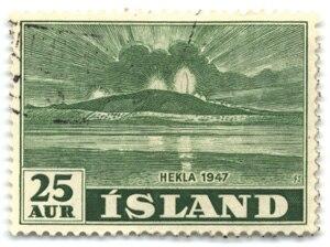 Postage stamps and postal history of Iceland - Hekla eruption of 1947 on Icelandic 25-aurar stamp of 1948