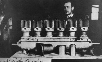Stephen Foster Briggs - Briggs with his engine while at South Dakota State College in 1906.