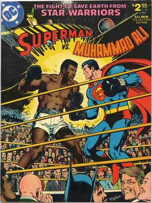 Superman vs. Muhammad Ali - Front cover art for Superman vs. Muhammad Ali.   Art by Neal Adams.