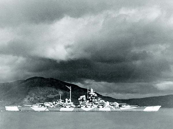 Tirpitz waiting in Norway for another Allied convoy. Tirpitz altafjord 2.jpg