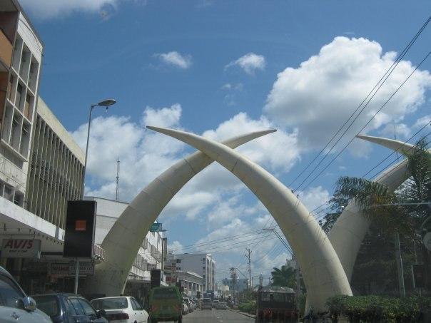 Tusks on Moi Avenue in Mombasa, Kenya