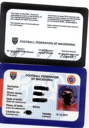 UEFA Pro Licence - UEFA Pro Licence from Macedonia