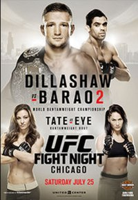 A poster or logo for UFC on Fox: Dillashaw vs. Barão 2.