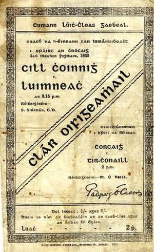 1933 All-Ireland Senior Hurling Championship Final - Image: 1933 All Ireland Senior Hurling Championship Final programme