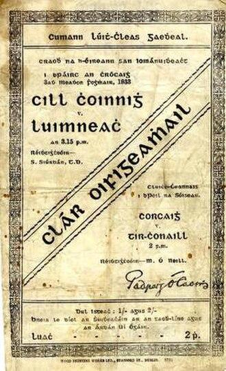 1933 All-Ireland Senior Hurling Championship Final - Image: 1933 All Ireland Senior Hurling Championship Final programme