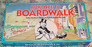 """Advance to Boardwalk - Box lid of the Parker Brothers board game """"Advance to Boardwalk."""""""