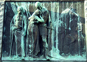 Prešeren Monument (Ljubljana) - Farewell, relief by Ivan Zajec on the pedestal of the Prešeren Monument