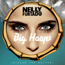 A cutout of Nelly Furtado's face between her forehead and nose is contained inside a wooden hoop earring.