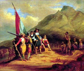 Charles Davidson Bell - Landing of van Riebeeck at the Cape of Good Hope, 1652