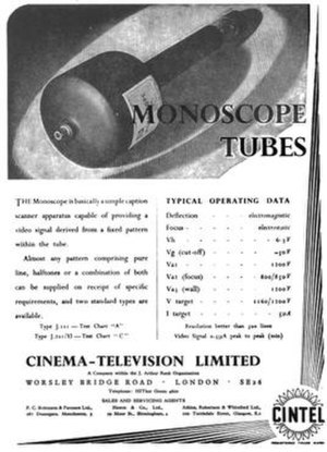 Monoscope - Early Cinema Television (UK) monoscope advertisement