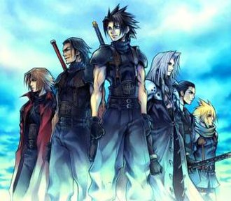 Crisis Core: Final Fantasy VII - Left to right, Genesis, Angeal, Zack, Sephiroth, Tseng, and Cloud.