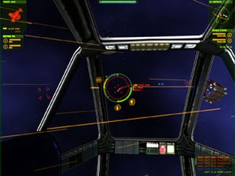 Independence War 2: Edge of Chaos - The view from inside the playership showing the virtual HUD.