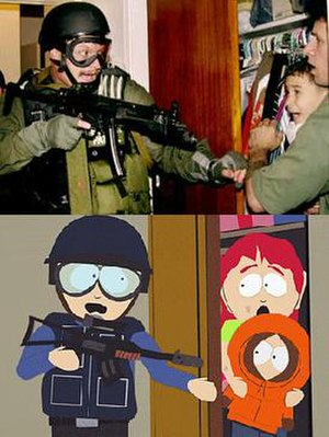 "South Park - The Border Patrol raid during the Elián González affair is referenced in ""Quintuplets 2000"", which aired within the same week the event occurred."